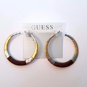 New Guess Gold, Silver, Brown Hoop Earrings